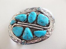 Vintage Effie Calavaza Sterling Silver Turquoise Belt Buckle Signed Zuni USA