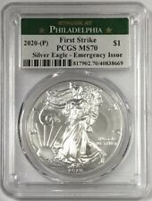 2020 (P) $1 American Silver Eagle Pcgs Ms70 Emergency Production Fs Philadelphia