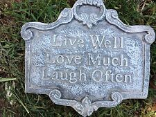 Live Well love much laugh, plaque, stepping stone, plastic mold, concrete mold,