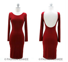 RED KNEE Length BACKLESS Dress Open Back Long Sleeve Cocktail Slit Sexy NEW S