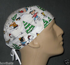 PEANUTS GANG SNOW PLAY (WHITE) SCRUB HAT / FREE CUSTOM SIZING
