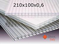 Lastra policarbonato alveolare 210x100 cm SPESSORE 6mm PROTETTO UV