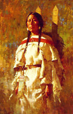 Howard Terpning CHEYENNE MOTHER Textured Canvas Native American