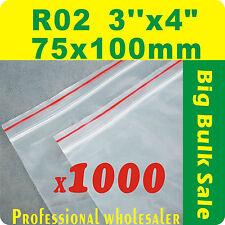 "1000 x R02 75X100mm(3""X4"") Resealable/ Zip Lock ZipLock Plastic Seal Bags"