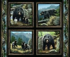 Springs ~ Cool Waters Realistic Black Bears ~ 100% Cotton 4 Pillow Panels Fabric