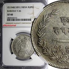 INDIA Princely States BARODA Sayaji Rao III VS1948 (1891) Rupee NGC XF40 Y# 36