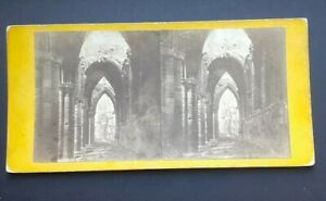 Whitby Abbey Nave stereoview England jet mourning photo fingerprint church arch