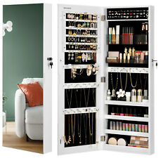 SONGMICS Jewellery Cabinet Armoire, Lockable Wall-Mounted Storage Organiser