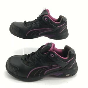 PUMA Mens Work Safety Toe Shoe Black Purple Leather Lace Up 8 EUR 39 M