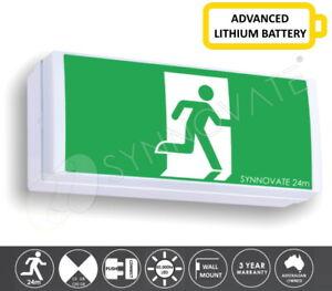 LITHIUM LED Emergency Exit Sign Light Wall Mount Box Style Shoebox 24m WIDE BODY