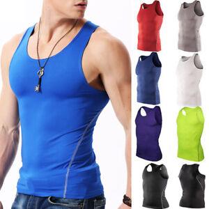 Herren Kompression Funktions T-Shirt Sport Fitness Tanktop Untershirt Muskelhemd