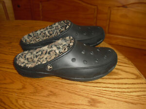 Crocs Freesail Black with Leopard Printed Fleece-Lined Clogs Women's Size 10