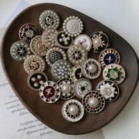 Vintage Rhinestone Shank Buttons 2pcs/lot Pearl Ornamented Clothing Metal Button