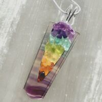Rainbow FLUORITE Crystal 7 Chakra Pendant CHARGED Sterling Silver Necklace Reiki
