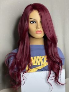 """burgundy wig Authentic Brazilian Human Hair 22"""" Swiss Front Lace 150 Density"""