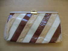 "Ladies Handbag Jane Shilton beige/brown snakeskin, 11.5x6.5x1"" & strap 30"" 3066"