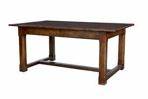 LATE 20TH CENTURY SOLID OAK REFECTORY TABLE