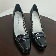 Anne Klein Size 6M Pumps Black Patent Leather Slip On Heels Shoes 6 Medium