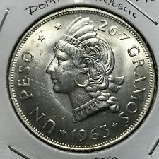 1963 DOMINICAN REPUBLIC SILVER ONE PESO CROWN BRILLIANT UNCIRCULATED
