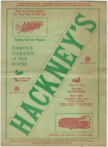1940s(?) Atlantic City New Jersey Classic Seafood Restaurant Hackney's Menu