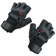 Pair of Black Stylish Leather Fingerless Gloves For Men DT