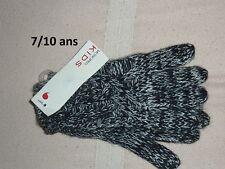 ♥ promo -60% ♥ Gants garçon MONOPRIX KIDS Taille 7 / 10 ans NEUF noir blanc