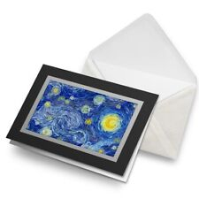 Greetings Card (Black) - Moon Starry Sky Night Stars Art Birthday Gift #14014