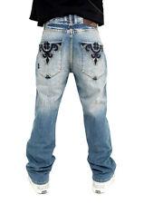 Akademiks Inked Leather Stud Gate Back Pocket Baggy Fit Jeans