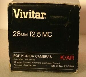 Vivitar 28mm f2.5 Automatic Fixed Mount Wide Angle lens Konica Fit