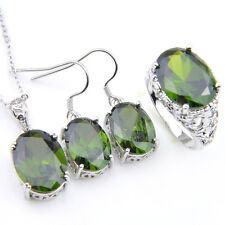 Xmas 3 Pcs 1 Lot Natural Oliver Peridot Gemstone Silver Pendant Earrings Rings