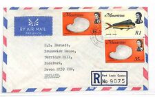 MAURITIUS Commercial Air Mail Cover Registered FISH SHELLS GB Devon 1974 LL292