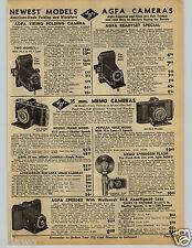 1941 PAPER AD Agfa 35 MM Memo Camera Speedex Wollensak Univex Mercury Folding