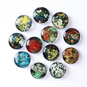 Mixed 8-30mm Van Gogh Flower Paint Glass Flatback Cab Art Decor Embellishment
