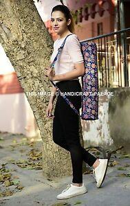 Indien Fait à la Main Bleu Paon Mandala Sac Coton Imprimé Yoga Et Pilates Mat