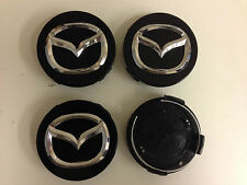 Set of 4 MAZDA  Face 56mm Clip 56mm ALLOY WHEELS CENTER CAPS SET  [ Black ]