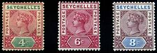 Seychelles. 1890~1900. First Issue. 4c~8c. SC# 4a(Die I), 5, 6. SG 2, 29, 11. MH