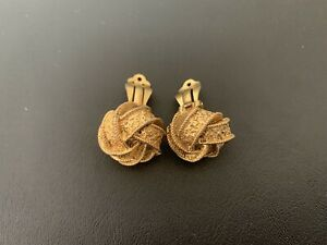 Chanel Authentic Vintage Mid 20th Century Clip On Earrings Knots Gold Style