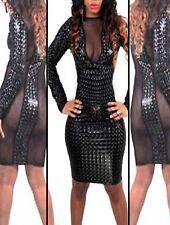 Latex Look Sexy Black Dress See Through Mesh Panel At Front Long Sleeves