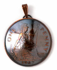 UK England Coin Jewelry, British Penny Coin Pendant, Copper Coin Necklace Charm