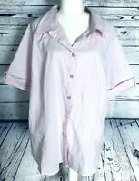 George Women's 4X Blouse Pink Short Sleeves Button Down V Neck Collared