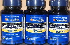 3 x 60 Puritan's Pride Super Strength Melatonin 10 mg - 180 Capsules  Sleep Aid