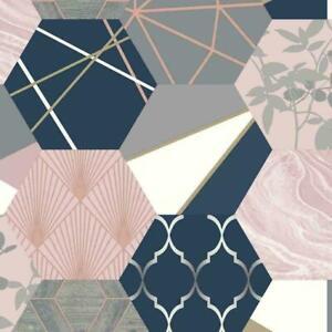 Rasch Patchwork Geometric Hexagon Metallic Pink Blush Navy Grey Gold Wallpaper