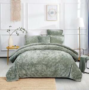 Tache Luxury Soft Plush Velvet Sage Green Diamond Tufted Coverlet Bedspread Set
