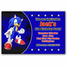 10 Personalised Birthday Party Invitations Sonic the Hedgehog Q145