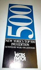 ORIGINAL WCBS-FM MUSIC RADIO NY TOP 500 OF ALL TIME OLDIES SURVEY 1983 Edition