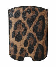 DOLCE & GABBANA Phone Case Cover Brown Leopard Leather Sock Universal RRP $200