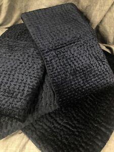 Restoration Hardware Velvet Pick Stitch Coverlet & Shams, King, Indigo 138