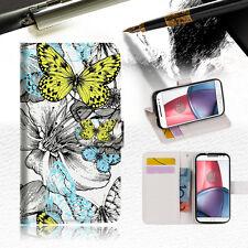 Butterfly Garden Wallet TPU Case Cover For Motorola Moto X Force-- A018