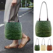 Women Straw Woven Handbag Bohemian Beads Handmade Summer Beach Tote Bag Casual