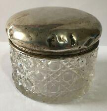 Antique Glass Dressing Table Jar with Silver Hallmarked Lid af